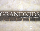 Grandkids Make Life Grand! Wood Sign - Home Decor - Photo Display - Wall Decor - Gift Ideas - Grandparents - Distressed Wooden Sign S339