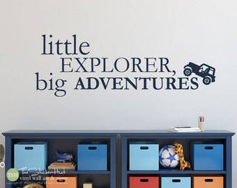 Little Explorer Big Adventures Jeep - Nursery - Bedroom Decor - Vinyl Lettering - Vinyl Wall Art Words Decals Graphics Stickers Decals 1967