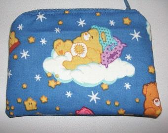 Care Bears Funshine Bear handmade zipper fabric coin change purse card holder
