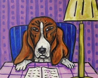 SALE 10 % off for holiday Basset Hound dog art tile coaster at the library