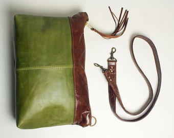 Olive Green Leather Shoulder Bag Purse with Brown Leather accent and Removable Strap to Clutch Bag