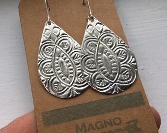 Handmade silver India paisley drop earrings on sterling leverbacks