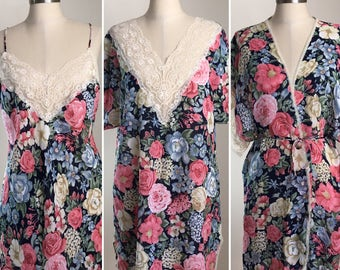 80s Val Mode Lingerie Navy Pink Floral Lace Nightgown, Chemise and Matching Robe Set, Size Medium to Large