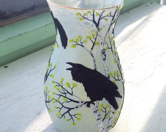 A Conspiracy of Ravens Art Glass Vase Sculpted with Polymer Clay onto a Recycled Glass Vase in Greyed Yellow