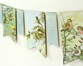 Scenic Bird Banner, Rustic Wedding Garland, Garden Party Flags, Classroom Decor, Nature Lover Gift, Nursery Decor, Recycled Book Bunting