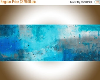 "Painting on canvas Extra Large wall art 72"" blue turquoise grey white abstract painting original artwork blue homedecor ""The Mist"" by QIQI"