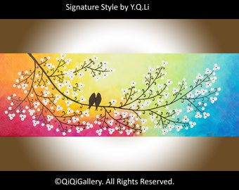 "Colorful painting Birds on tree branch acrylic painting wall art wall decor home decor wall hanging ""Colours of Love"" by QIQIGALLERY"