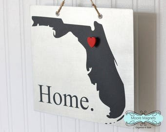 Florida State Silhouette Home Sign Magnet board with Chalkboard State and Red Heart Magnet