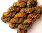 Hand Dyed Yarn Superwash Merino Sock Yarn, Wheatfields, 375 yards