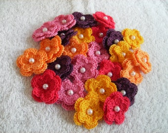Crochet Flowers set of 25 double layered in a Popsycle Theme