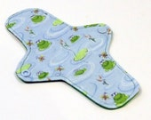 "8"" Reusable Cloth winged ULTRATHIN Pantyliner - ""Frog Pond"" - Cotton Flannel top"