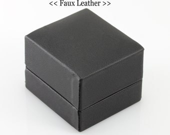Ring Box Upgrade: Midnight Black Leather (Faux Leather)