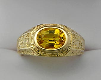 AAAA   Yellow Sapphire  9x7mm 2.40 Carats Heavy 14K Yellow gold Antique styled MAN'S ring 15 grams. 1779a