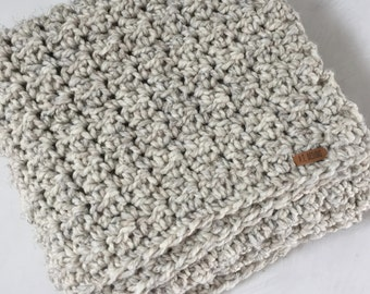 Chunky wool throw ~ hand knit crocheted large blanket ~ Beach Sand - other colors available