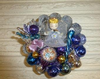 Vintage Christmas Spun Cotton Angel in Large Tart Tin Purple Blue