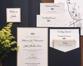 Pocket Wedding Invitation Suite / Custom Design / Folder for Enclosure Cards