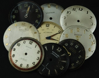 Vintage Antique Watch Dials Steampunk  Faces Parts Altered Art Industrial O 57