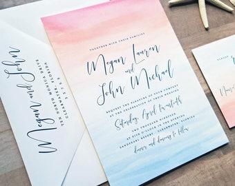 NEW Megan Beach Watercolor Wedding Invitation Sample - Destination Pink Blue Sunset Watercolor Wedding Invitation