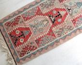 Moroccan Pink, Aqua & Black Rug - 4.5 feet x 2 feet