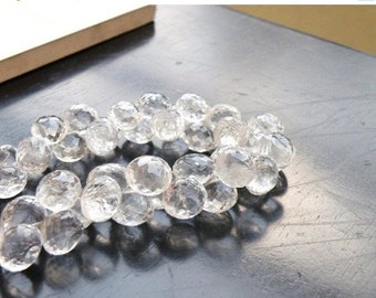 Love You 51% off Sale Rock Crystal Quartz Gemstone Briolette Faceted Onion 8 to 8.5mm 21 beads 1/2 Strand