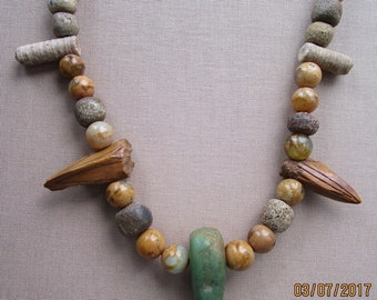 Journey Talisman Ancient Necklace: Eskimo Artifacts Amazonite Fossils Free Shipping