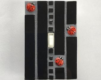 Ladybug Switch Plate, Stained Glass Switch Plate Covers, Light Switch Covers, Switchplate, Black Glass Art, Single Toggle Switch, 8505