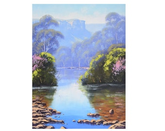 nature prints river scene painting print  from my Original Oil Painting