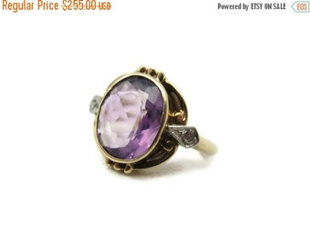 SALE Art Nouveau Amethyst Ring - Diamond Accents, 10k Gold Victorian, February Birthstone Jewelry, Engagement Ring