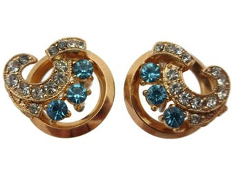 Blue Rhinestone Earrings -  Screwback, Vintage Costume Jewelry