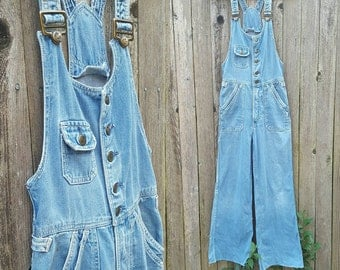Vintage Overalls // Vtg 70s HANG TEN Distressed Trashed Faded Button Front Fitted Bell Bottom Overalls