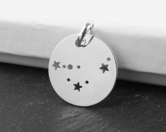 Sterling Silver Capricorn Constellation Pendant 18mm (CG9615)
