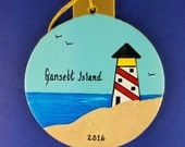 0027 Lighthouse circle . Free shipping. Message shown is a suggestion. Ornaments can be written with a message/name/date of your choice.