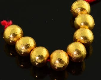 8.8mm 18k Solid Yellow Gold Fancy Ball Spacer Beads 2.5 Inch (8)