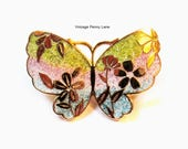 Vintage Butterfly Pin, Cloisonne Enamel Gold Brooch