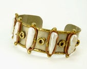 Brutalist Mixed Metals Pearl Cuff  Bracelet