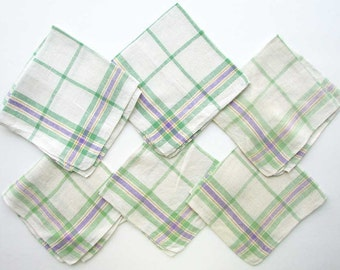 Set of 5 Vintage 1950 Woven Cotton Napkins in Lilac, Green and White