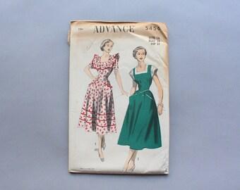 Vintage Pattern / 1950s Advance Dress Pattern / 50s Pinafore Dress Pattern Uncut Factory Fold size 16 waist 28