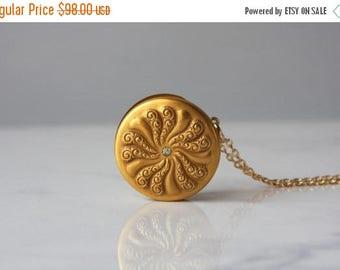 STOREWIDE SALE Antique Locket Necklace / 1900s Gold Filled Paste Locket / Etched Gold Locket Necklace