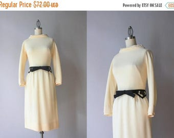 STOREWIDE SALE 1960s Knit Wiggle Dress / Vintage 60s Vanilla Knit Carlye Dress / Cattle Hide Bow Belt Fitted Sixties Dress