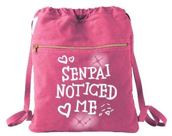 Cute Backpack Senpai noticed me school bag cute drawstring bag anime kawaii book bag otaku cotton drawstring bag meme