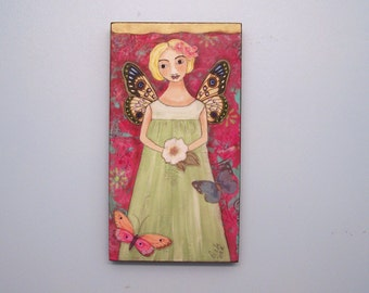 Fairy Angel Painting Original Contemporary Folk Art Shabby Encaustic painting Butterflies and Flowers