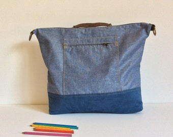 Mens diaper backpack bag with many pockets closed by zipper and with convertible strap, blue jeans large nappy convertible backpack purse