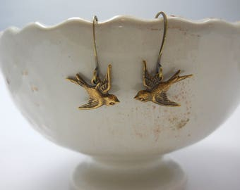 Earrings Brass Metal Sparrows French Hook Ear Wires Woodland Nature Dainty Jewelry Small Soaring Birds