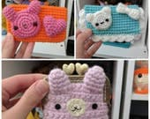Kawaii crochet change purse mini wallet cc credit card bunny bear pastel fairy kei harajuku pink orange