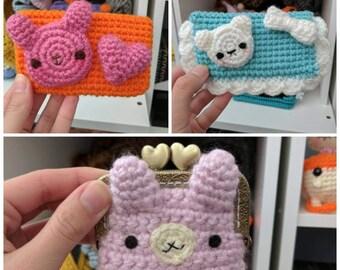 Kawaii crochet change purse mini wallet cc credit card bunny bear pastel fairy kei harajuku pink orange