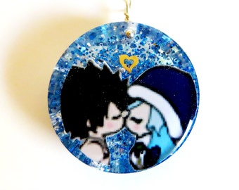 Gray and Juvia Gruvia Fairy Tail Circle Resin Pendant Necklace or Keychain
