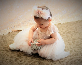 RUE DEL SOL blush flower girl dress French lace and silk tulle dress for baby girl blush princess dress