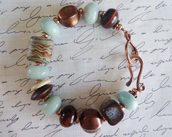 Brown and Blue Copper Beaded Bracelet with Beads by Gaea and A Beaded Gift