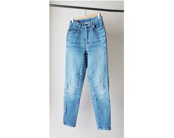 1980's Sasson Paris High Waist Skinny Distressed Denim Jeans