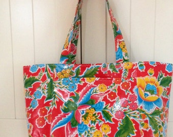 Beth's Large Red Zoya Oilcloth Market Tote Bag with Exterior Pockets